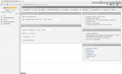 phpMyAdmin - Kezdőképernyő