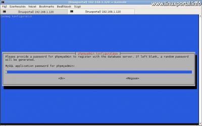 phpMyAdmin konfigurálása - Alkalmazásszintű hozzáférés jelszavának megadása
