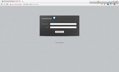 RoundCube - Bejelentkezési képernyő