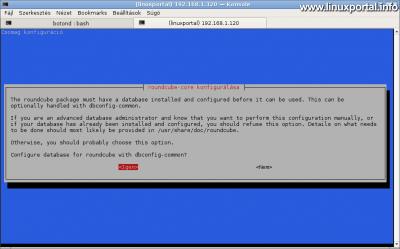 RoundCube-core konfigurálása - Alap adatbázis automatikus konfigurálása a dbconfig-common segítségével