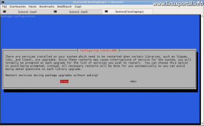 Debian frissítés - Csomag konfiguráció - Szolgáltatások automatikus újraindítása