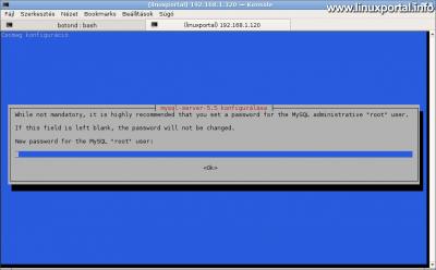 MySQL konfiguráció - root jelszó beállítása