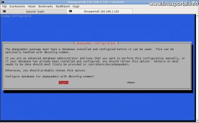 phpMyAdmin konfigurálása - Alap adatbázis automatikus beállítása a dbconfig-common segítségével