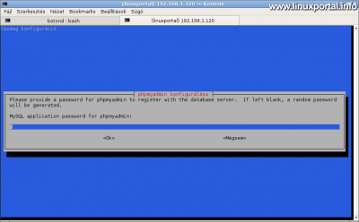 phpMyAdmin konfigurálása - Konrtoll (háttér adminisztrációs) felhasználó jelszava