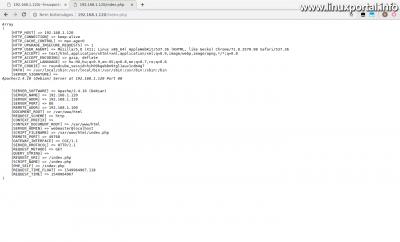 PHP $_SERVER tömb vizsgálata az alapértelmezett webgyökér könyvtárban