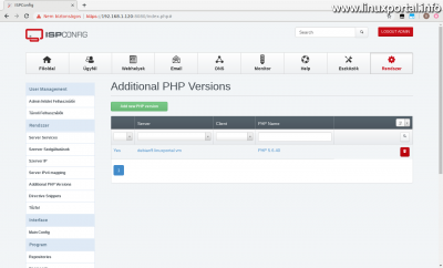 ISPConfig3 kezelőpanel - Kiegészítő PHP verziók - Elkészült verzió
