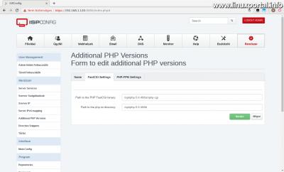 ISPConfig3 kezelőpanel - Kiegészítő PHP verziók - FastCGI Beállítások fül