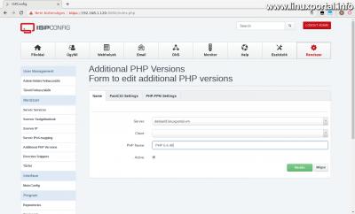 ISPConfig3 kezelőpanel - Kiegészítő PHP verziók - Name fül