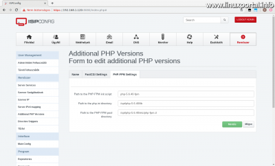 ISPConfig3 kezelőpanel - Kiegészítő PHP verziók - PHP-FPM Beállítások fül