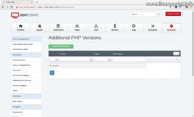 ISPConfig3 kezelőpanel - Kiegészítő PHP verziók