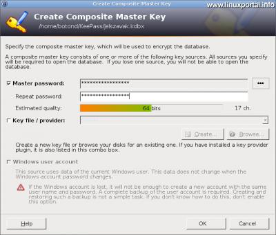 KeePass - Fő adatbázis jelszó létrehozása