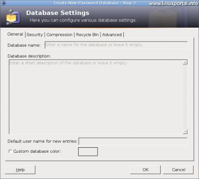 KeePass - Adatbázis beállítások - Általános fül