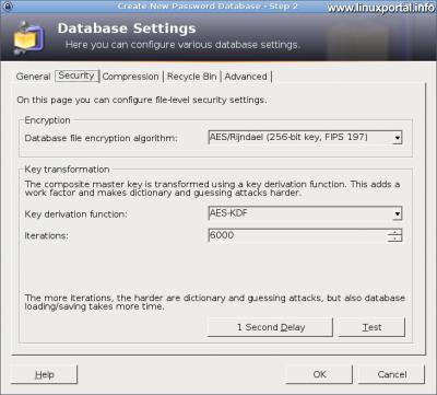 KeePass - Adatbázis beállítások - Biztonság fül