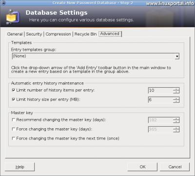 KeePass - Adatbázis beállítások - Haladó beállítások fül