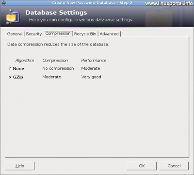KeePass - Adatbázis beállítások - Tömörítés fül