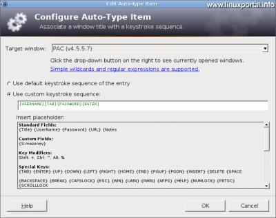KeePass - Új bejegyzés létrehozása - Automatikus gépelés fül - Gépelési szekvencia beállítása