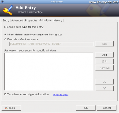 KeePass - Új bejegyzés létrehozása - Automatikus gépelés fül