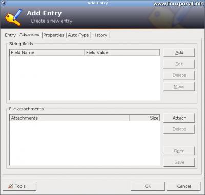 KeePass - Új bejegyzés létrehozása - Haladó beállítások fül