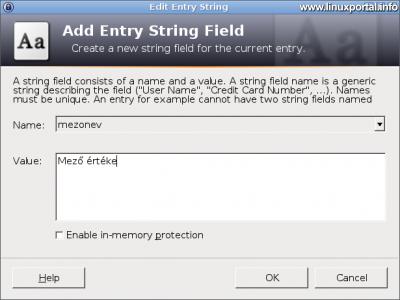 KeePass - Új bejegyzés létrehozása - Egyéni szövegmező hozzáadása