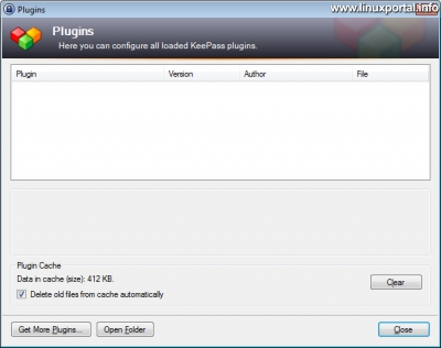 KeePass - Plug-in ablak Windows rendszerben