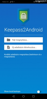 Keepass2Android - Kezdőképernyő