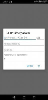 Keepass2Android - SFTP tárhely adatai