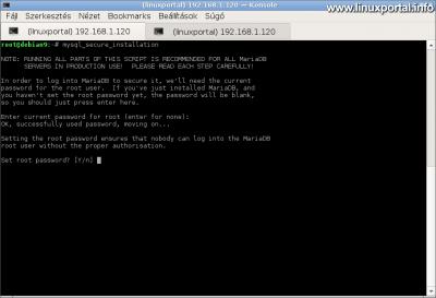 MariaDB biztonságossá tétele - Root jelszó beállítása