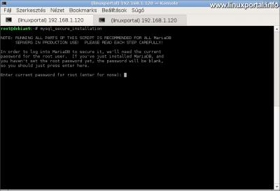 MariaDB biztonságossá tétele - Root jelszó bekérése