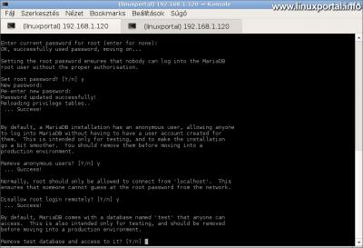 MariaDB biztonságossá tétele - Teszt adatbázis eltávolítása
