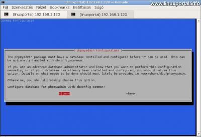 phpMyAdmin telepítése - Adatbázis automatikus beállítása a dbconfig-common segítségével