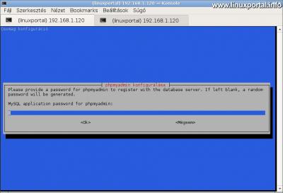 phpMyAdmin telepítése - Jelszó bekérése a kontroll felhasználó számára