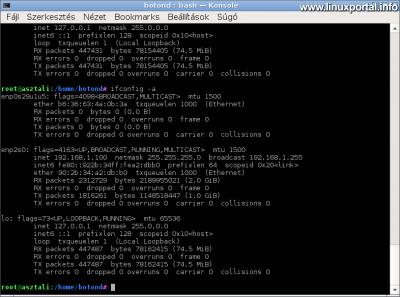 Számítógép beállítása - Minden eszköz megjelenítése az ifconfig paranccsal
