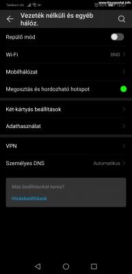 Mobiltelefon beállítása - Beállítások - Vezeték nélküli és egyéb hálózatok menü