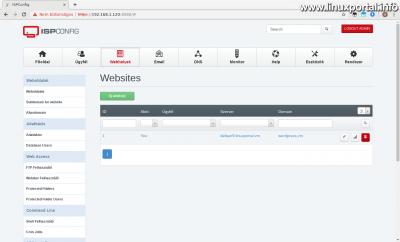 ISPConfig - Webhelyek - Elkészült webhely