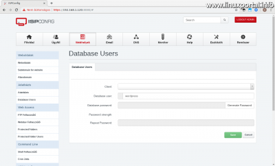 ISPConfig - Webhelyek - Adatbázis felhasználó hozzáadása