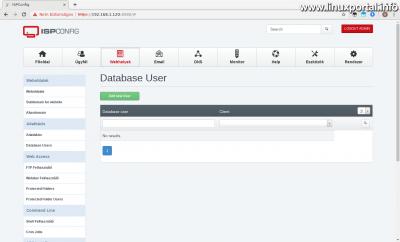 ISPConfig - Webhelyek - Adatbázis felhasználók