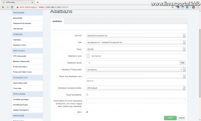 ISPConfig - Webhelyek - Új adatbázis létrehozása