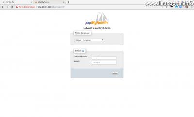 phpMyAdmin - Belépés az új felhasználóval
