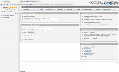 phpMyAdmin - A wordpress felhasználó kezdőoldala