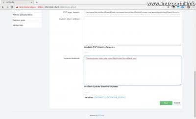 ISPConfig - Új webhely - Beállítások fül - Apache direktívák