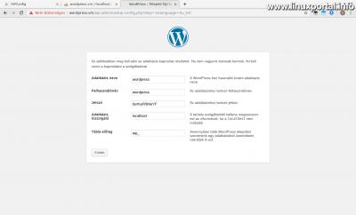WordPress telepítés - Adatbázis adatok megadása