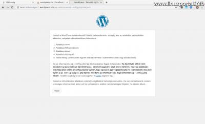 WordPress telepítés - Konfigurációs fájl tájékoztató