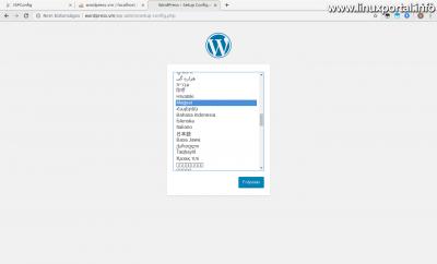 WordPress telepítés - Nyelv kiválasztása