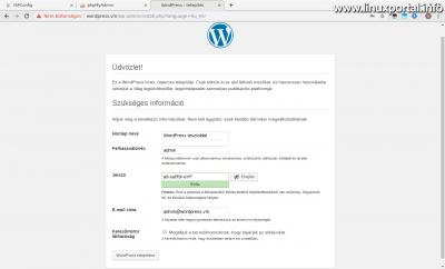 WordPress telepítés - Oldal adatainak beállítása
