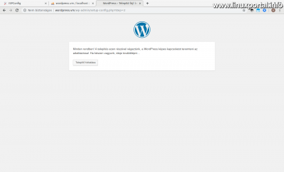 WordPress telepítés - Sikeres adatbázis csatlakozás