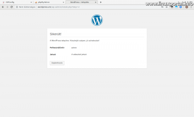 WordPress telepítés - Sikeres telepítés