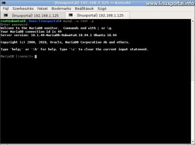 MariaDB root belépés tesztelése