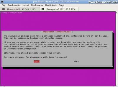 phpMyAdmin konfigurálása - Adatbázis automatikus beállítása a dbconfig-common segítségével