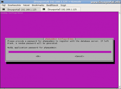 phpMyAdmin konfigurálása - Jelszó bekérése a kontroll felhasználó számára