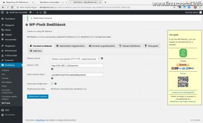 WordPress admin - WP-Piwik Beállítások - Sikeres csatlakozás